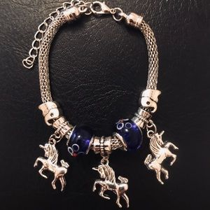 Unicorn Charm Bracelet Blue beads (adjustable)